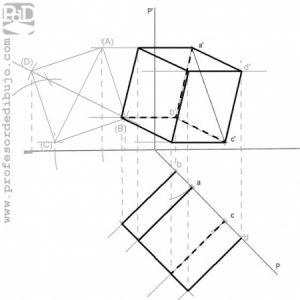 PAU #022 Diédrico: Hexaedro apoyado en plano proyectante horizontal (Andalucia/2005).