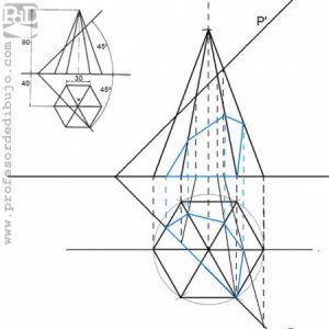 PAU  #020 Diédrico: sección de una pirámide hexagonal (Aragón/2000)
