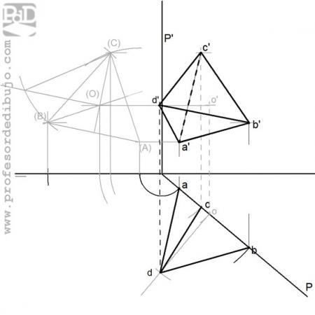PAU #023 Tetraedro conocida una arista de una cara vertical (Madrid/2009)