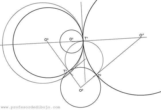 Tangentes a dos circunferencias conociendo punto de tangencia en una de ellas (Potencia).