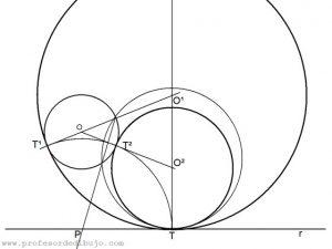 Circunferencias tangentes a una recta y a una circunferencia, conocido el punto de tangencia en la recta (Potencia).