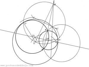 Circunferencias tangentes a una circunferencia pasando por dos puntos interiores (Potencia).