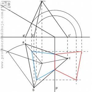 PAU  #019 Diédrico: Trazado y sección de un tetraedro (Castilla y León/2008)