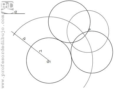 Circunferencias tangentes a otra circunferencia, conocido el radio y un punto perteneciente a ella (Tangente exterior).