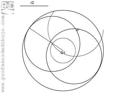 Circunferencias tangentes a otra circunferencia, conocido el radio y un punto perteneciente a ella (Tangente interior).