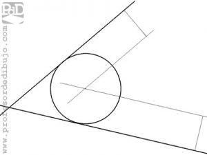 Circunferencia tangente a los lados de un ángulo (dos rectas), conocido el radio.