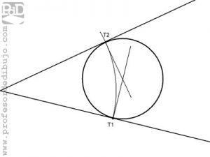 Circunferencia tangente a los lados de un ángulo (dos rectas), conocido un punto de tangencia.
