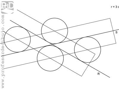 Circunferencias tangentes a dos rectas que se cortan, conocido el radio.
