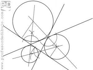 Circunferencias tangentes a tres rectas que se cortan formando un triángulo.