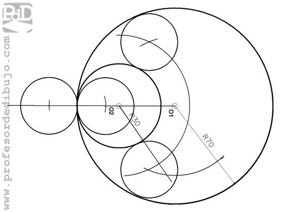 Circunferencias tangentes a dos circunferencias tangentes interiores, conocido el radio.