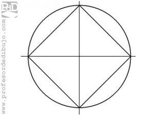 Dibujar un cuadrado inscrito en una circunferencia.