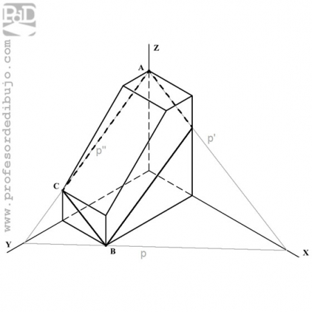 PAU  #021 Axonométrico: sección de un plano a una figura (Madrid/2009).
