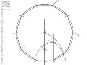 Como dibujar un decágono a partir del lado.