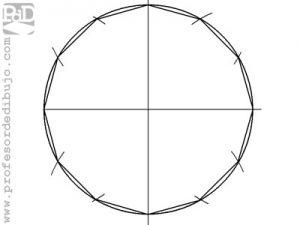 Como dibujar un polígono de 12 lados inscrito en una circunferencia (Dodecágono).