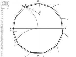 Como dibujar un polígono de 11 lados inscrito en una circunferencia (Endecágono).