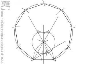 Como dibujar un eneágono a partir del lado.