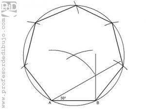 Como dibujar un heptágono a partir del lado.