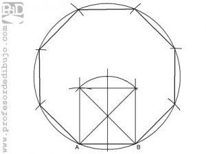 Como dibujar un octógono partiendo del lado (Método 1).