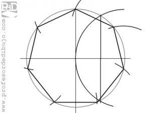 Como dibujar un heptágono inscrito en una circunferencia.