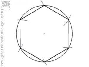 Como dibujar un hexágono inscrito en una circunferencia.