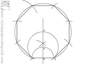 Como dibujar un octógono a partir del lado (Método 2).