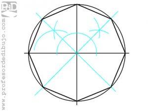 Como dibujar un octógono inscrito en una circunferencia.