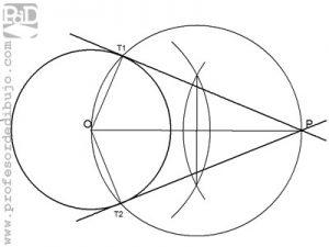 Rectas tangentes a una circunferencia pasando por un punto.