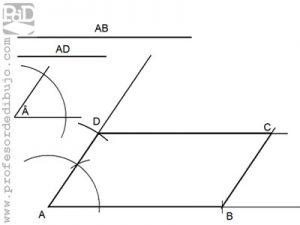 Ejercicio de romboide conociendo sus lados y un ángulo.