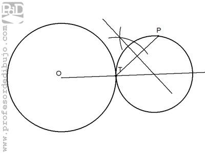 Circunferencia tangente a otra circunferencia, conocido el punto de tangencia y otro punto perteneciente a ella.