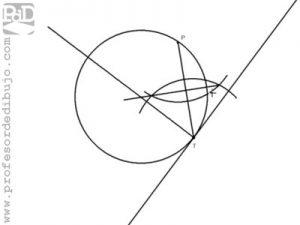 Circunferencia tangente a una recta, conocido el punto de tangencia y otro punto de la circunferencia.