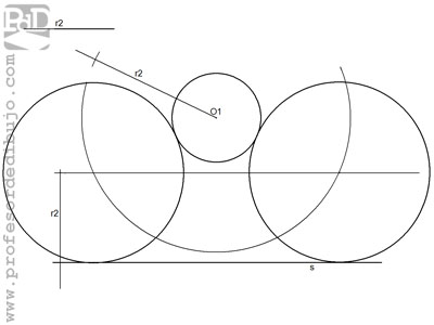 Circunferencias tangentes exteriores a otra circunferencia y a una recta, conocido el radio.