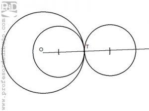 Circunferencias tangentes a otra circunferencia, conocido el radio y el punto de tangencia.