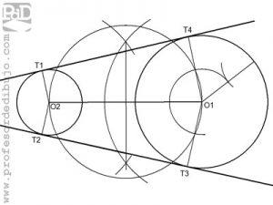 Rectas tangentes exteriores a dos circunferencias.