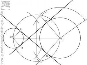 Rectas tangentes interiores a dos circunferencias.