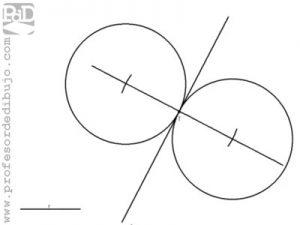 Circunferencias tangentes a una recta, conocido el punto de tangencia y el radio de la circunferencia.