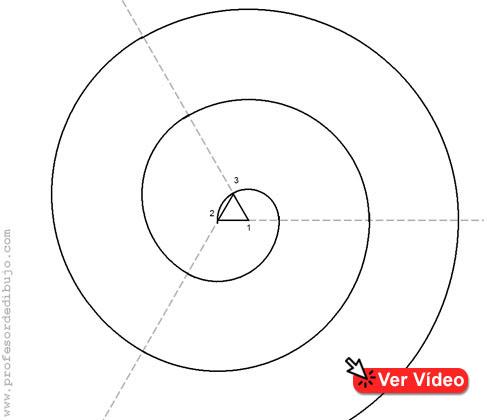 dibujo de una espiral de 3 centros (Volutas)