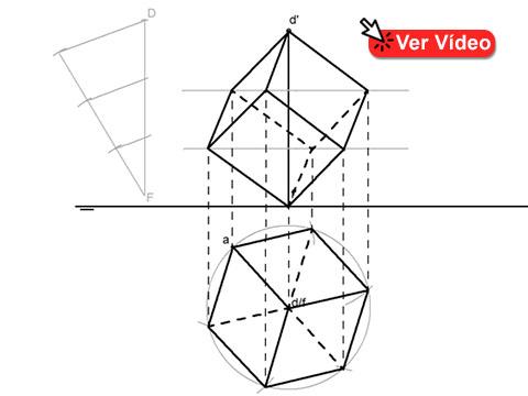 Dibujo de un Hexaedro con una diagonal vertical (Diédrico).