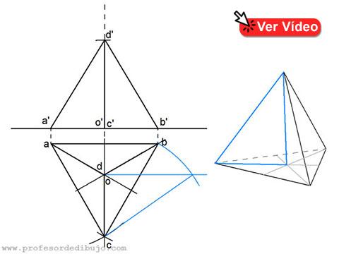Tetraedro apoyado en PH y una arista paralela al PV