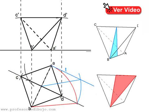 Tetraedro con una arista en plano horizontal de proyección