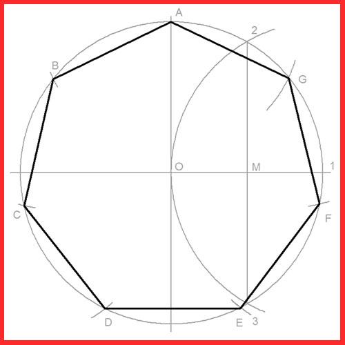 heptagono dado el radio circunferencia donde está inscrito