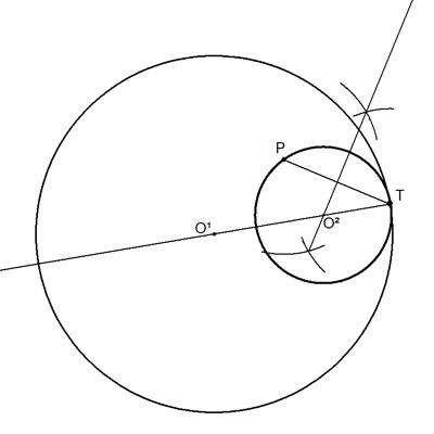Circunferencia tangente interior a otra conocido punto de tangencia y otro punto de ella.