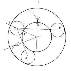 Circunferencias concéntricas tangentes a 3 circunferencias dadas de igual radio.