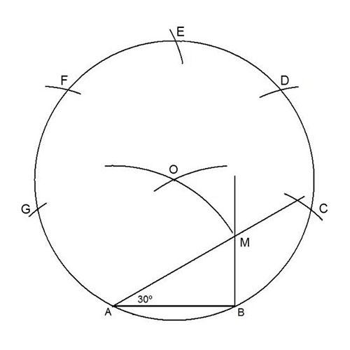 Heptágono dado el lado paso a paso 7