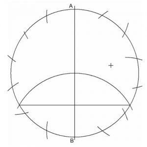 División de una circunferencia en 14 partes iguales.