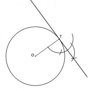 Recta tangente a una circunferencia conocido el punto T de tangencia