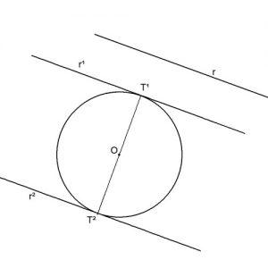 Rectas tangentes a una circunferencia y paralelas a una recta dada (siguiendo una dirección).
