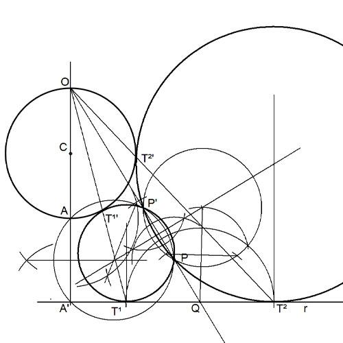 Circunferencias tangentes a una recta y una circunferencia pasando por un punto. 4 soluciones (1 de 2).