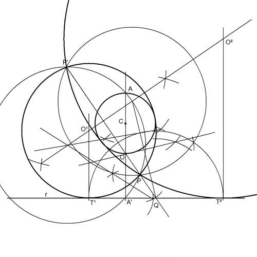 Circunferencias tangentes a una recta y una circunferencia pasando por un punto. 4 soluciones (2 de 2).