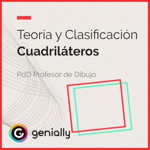 Material didáctico interactivo sobre teoría y clasificación de cuadriláteros.
