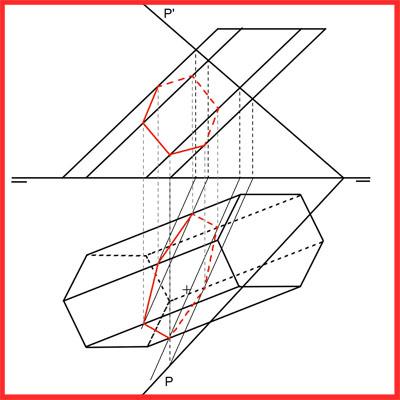 Sección de plano oblicuo con prisma oblicuo